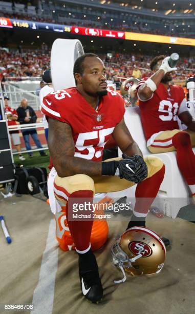 Ahmad Brooks of the San Francisco 49ers sits on the sideline during the game against the Denver Broncos at Levi Stadium on August 19 2017 in Santa...