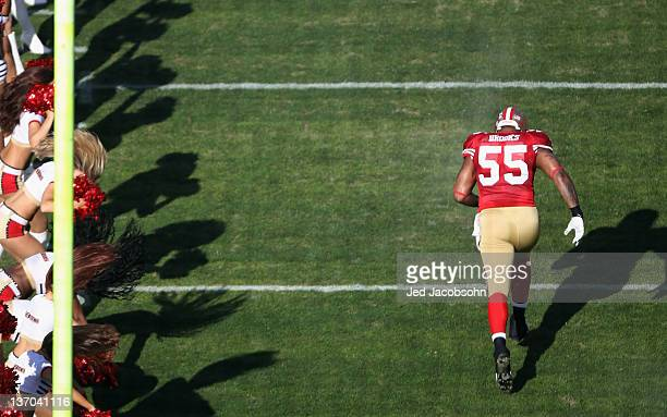 Ahmad Brooks of the San Francisco 49ers takes the field for the start of the NFC Divisional playoff game against the New Orleans Saints at...