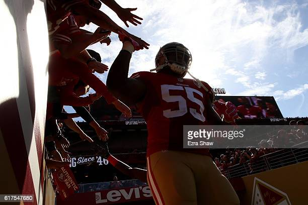 Ahmad Brooks of the San Francisco 49ers walks in to the stadium prior to their NFL game against the Tampa Bay Buccaneers at Levi's Stadium on October...