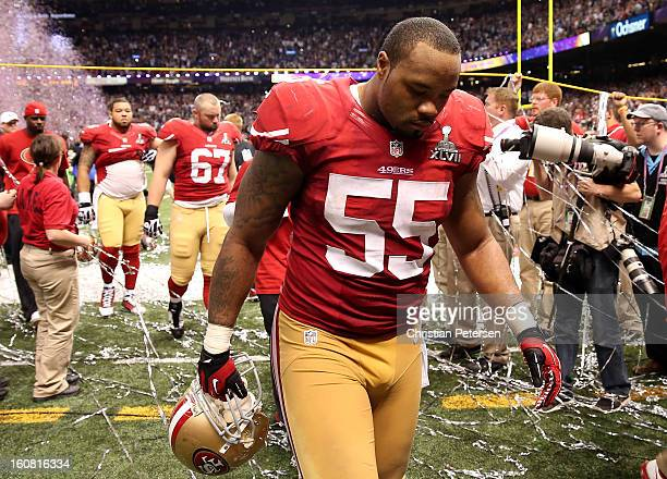 Ahmad Brooks of the San Francisco 49ers walks off of the field dejected after the Baltimore Ravens won 3431 during Super Bowl XLVII at the...