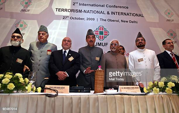 Ahmad Bukhari Dr Farook Abdullah Hamid Ansari Yahayah Bukhari and Ghulam Nabi Azad at the 2nd International Conference on Terrorism organised by Jama...