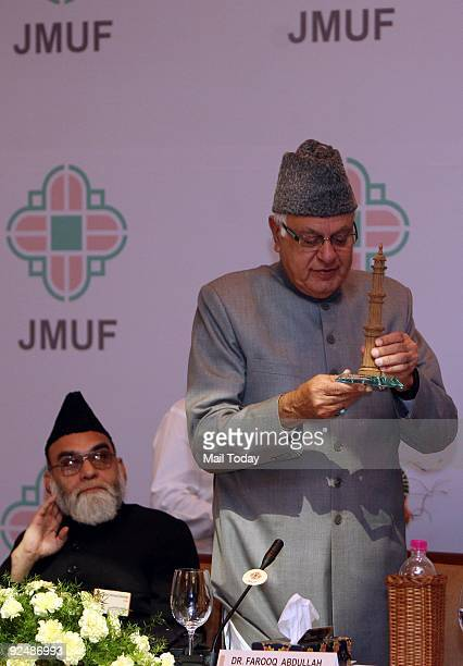 Ahmad Bukhari with Dr Farooq Abdullah at the 2nd International Conference on Terrorism organised by Jama Masjid United Forum in New Delhi on Tuesday...