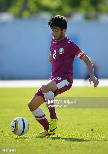 Ahmad Doozandeh of Qatar in action during the Toulon Tournament Group B match between Colombia and Qatar at the Stade De Lattre on May 28, 2014 in...