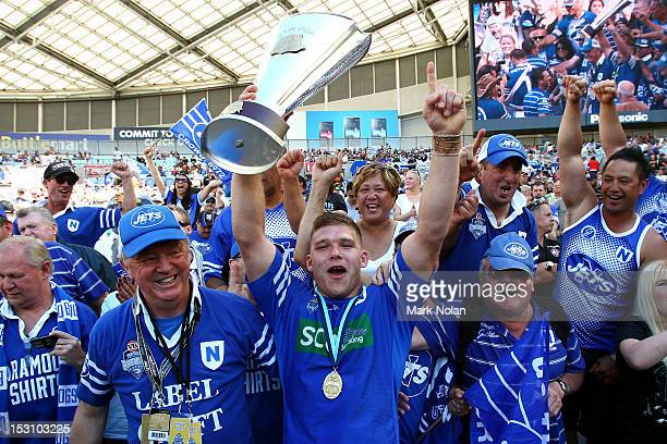 Ahmad Ellaz of the Jets celebrates with fans after winning the 2012 NSW Cup Grand Final match between the Newtown Jets and the Balmain RydeEastwood...