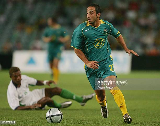 Ahmad Elrich of Australia in action during the Oceania Nations Cup and the Confederations Cup last qualifying match between Australian Socceros and...
