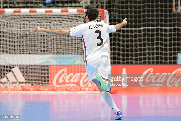 Ahmad Esmaeilpour of Iran celebrates after scoring during a semi final match between Iran and Russia as part of 2016 FIFA Futsal World Cup Colombia...