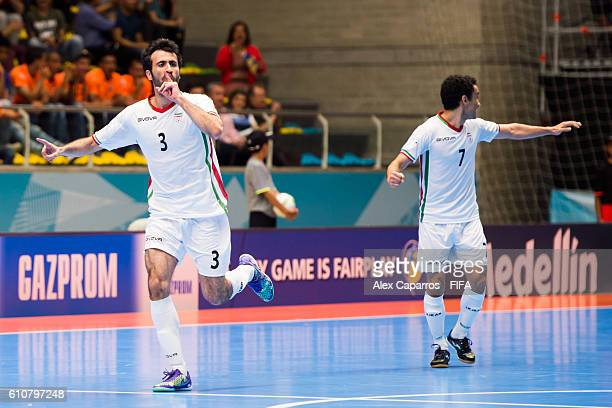 Ahmad Esmaeilpour of Iran celebrates after scoring his team's first goal during the FIFA Futsal World Cup SemiFinal match between Iran and Russia at...