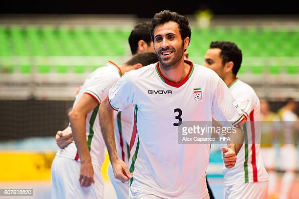 Ahmad Esmaeilpour of Iran celebrates after scoring the opening goal during the FIFA Futsal World Cup Group F match between Azerbaijan and Iran at...