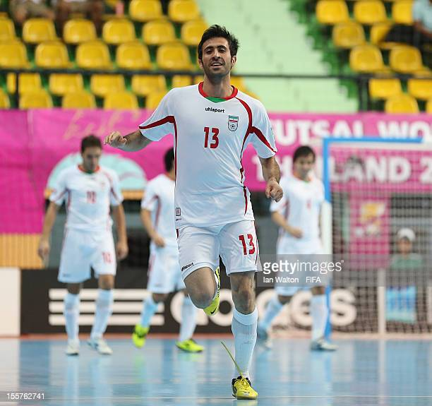 Ahmad Esmaeilpour of Iran celebrates scoring a goal during the FIFA Futsal World Cup Thailand 2012 Group B match between Iran and Panama at Nimibutr...