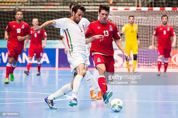 Ahmad Esmaeilpour of Iran competes for the ball with Gallo of Azerbaijan during the FIFA Futsal World Cup Group F match between Azerbaijan and Iran...