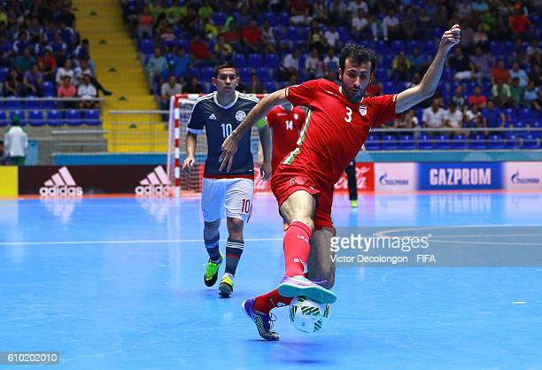 Ahmad Esmaeilpour of Iran controls the ball during quarterfinal match play between Paraguay and Iran in the 2016 FIFA Futsal World Cup at Coliseo...