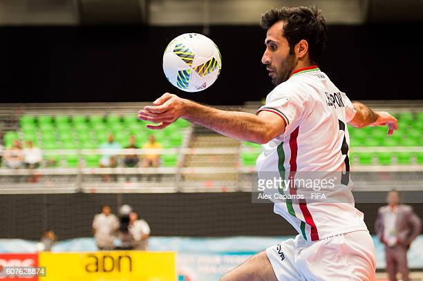 Ahmad Esmaeilpour of Iran controls the ball during the FIFA Futsal World Cup Group F match between Azerbaijan and Iran at Coliseo Ivan de Bedout...