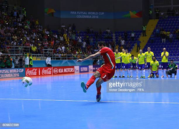 Ahmad Esmaeilpour of Iran converts his penalty kick to defeat Brazil 32 on penalty kicks during their round of 16 match in the 2016 FIFA Futsal World...