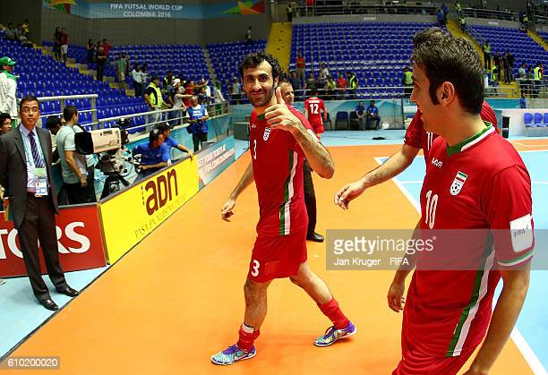 Ahmad Esmaeilpour of Iran cxelebrates the win during the FIFA Futsal World Cup quarter final match between Paraguay and Iran at Coliseo Bicentenario...
