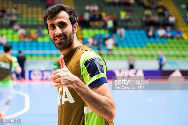Ahmad Esmaeilpour of Iran gives his thumb up before the FIFA Futsal World Cup SemiFinal match between Iran and Russia at Coliseo Ivan de Bedout...