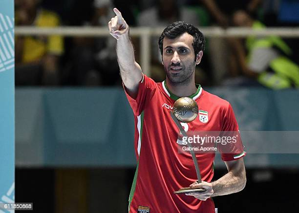 Ahmad Esmaeilpour of Iran pose with his third place adidas Golden ball award during 2016 FIFA Futsal World Cup Colombia at Coliseo El Pueblo on...