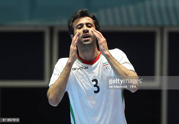 Ahmad Esmaeilpour of Iran reacts to a missed opportunity during the FIFA Futsal World Cup Third Place play off match between Iran and Portugal at the...