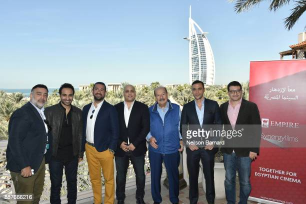 Ahmad Fahmy Mario Junior Haddad Ahmad Badawy Mario Haddad Mohamed Adel Emam and Yasser Howaidy pose during a photocall on day two of the 14th annual...