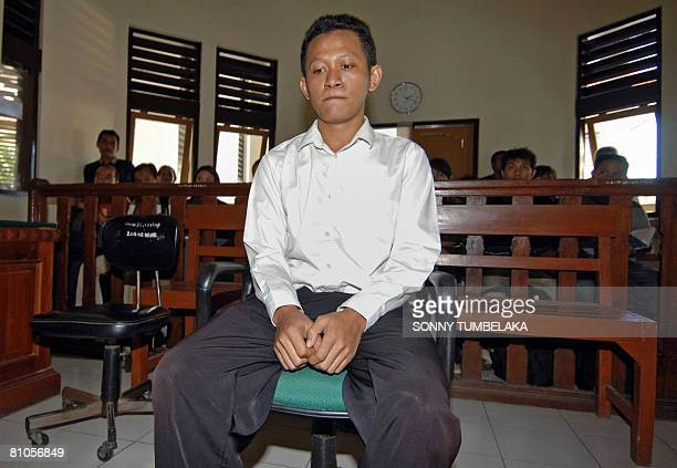 Ahmad Fahrul Rozi waits inside a court room for his trial to start in Denpasar on Bali island on May 12 2008 Rozi was arrested on February 2008 in...