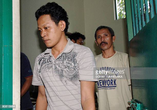 Ahmad Fahrul Rozi walks out of a cell to attend his trial at a court in Denpasar on April 22 2008 Rozi was arrested on February 2008 in the city of...