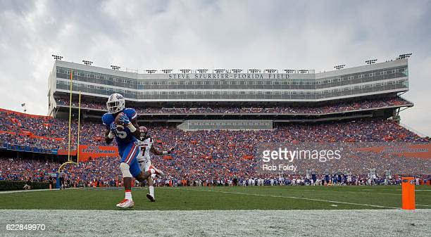 Ahmad Fuelwood of the Florida Gators scores a touchdown past Jamarcus King of the South Carolina Gamecocks during the second quarter of the game at...