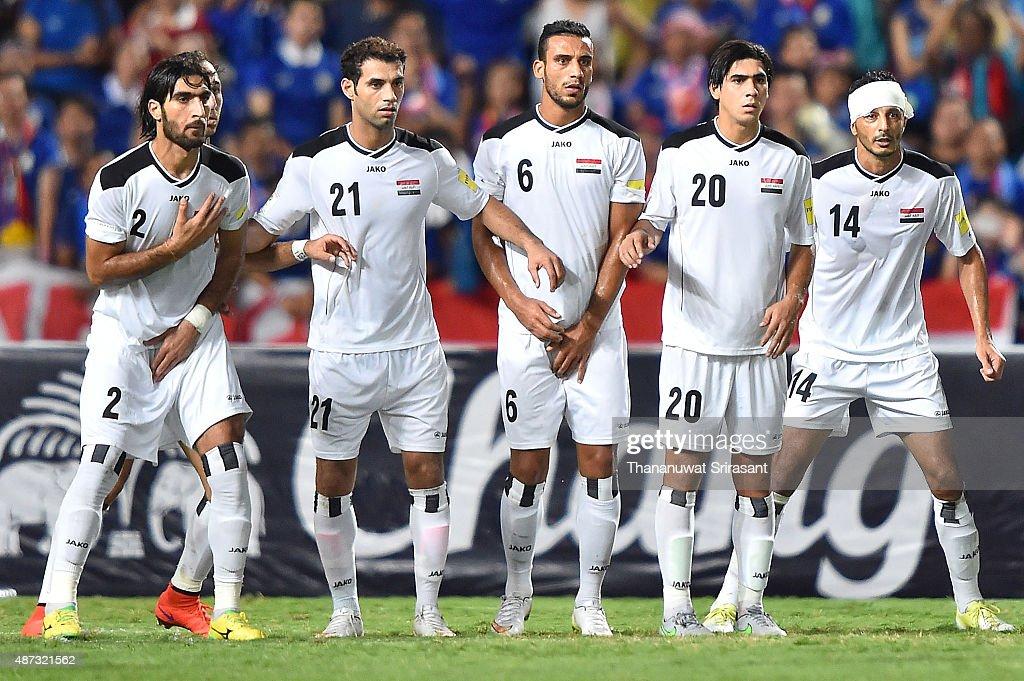 Ahmad Ibrahim #2, Saad Abdul-Amir #21, Ali Adnan #6, Ali Qasim #20, Salam Shaker #14 looks during the 2018 FIFA World Cup Qualifier match between Thailand and Iraq at Rajamangala Stadium on September 8, 2015 in Bangkok, Thailand.