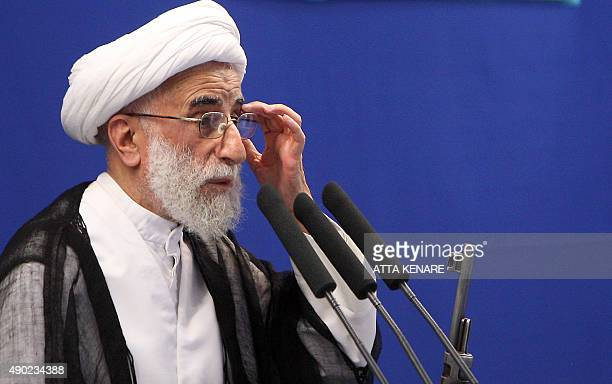 Ahmad Jannati head of Iran's Guardians Council delivers his Friday prayers sermon at Tehran University in the Iranian capital on August 21 2009...