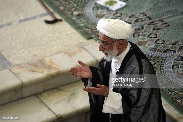Ahmad Jannati head of Iran's Guardians Council leads the weekly Friday prayers at Tehran University in the Iranian capital on August 21 2009 Jannati...