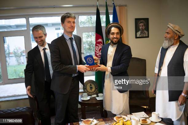 FOUNDATION KABUL AFGHANISTAN SEPTEMBER 19 2019 Ahmad Massoud receives the visit of French Ambassador in Afghanistan David Martinon and Thomas Guibert...