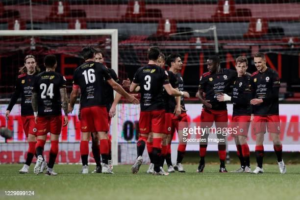 Ahmad Mendes Moreira of Excelsior celebrates 3-0 with Elias Mar Omarsson of Excelsior, Brandon Ormonde - Ottewill of Excelsior, Sander Fischer of...
