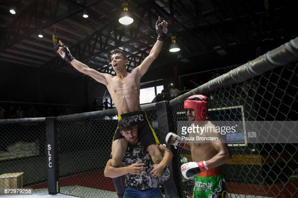 Ahmad Mohammed reacts after winning his first amateur fighting event at Snow Leopard Fighting Championship ring on May 18 in Kabul Afghanistan Sports...