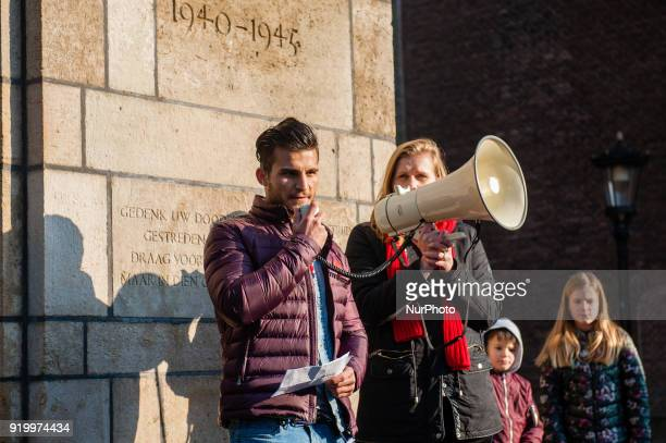 Ahmad Mostafa Sadat an Afghan living in The Netherlands protests against deportations to Afghanistan on February 18th 2018 in Utrecht Netherlands...