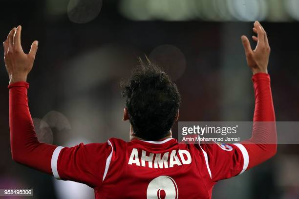 Ahmad Noorollahi of Persepolis celebrates after first goal during AFC Champions League match between Persepolis and Al Jazira at Azadi Stadium on May...