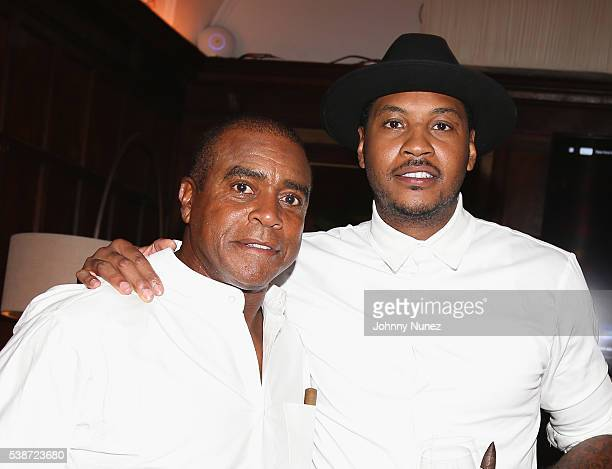 Ahmad Rashad and Carmelo Anthony attend An Intimate Evening With Michael Jordan And Neymar Jr on June 1 2016 in New York City
