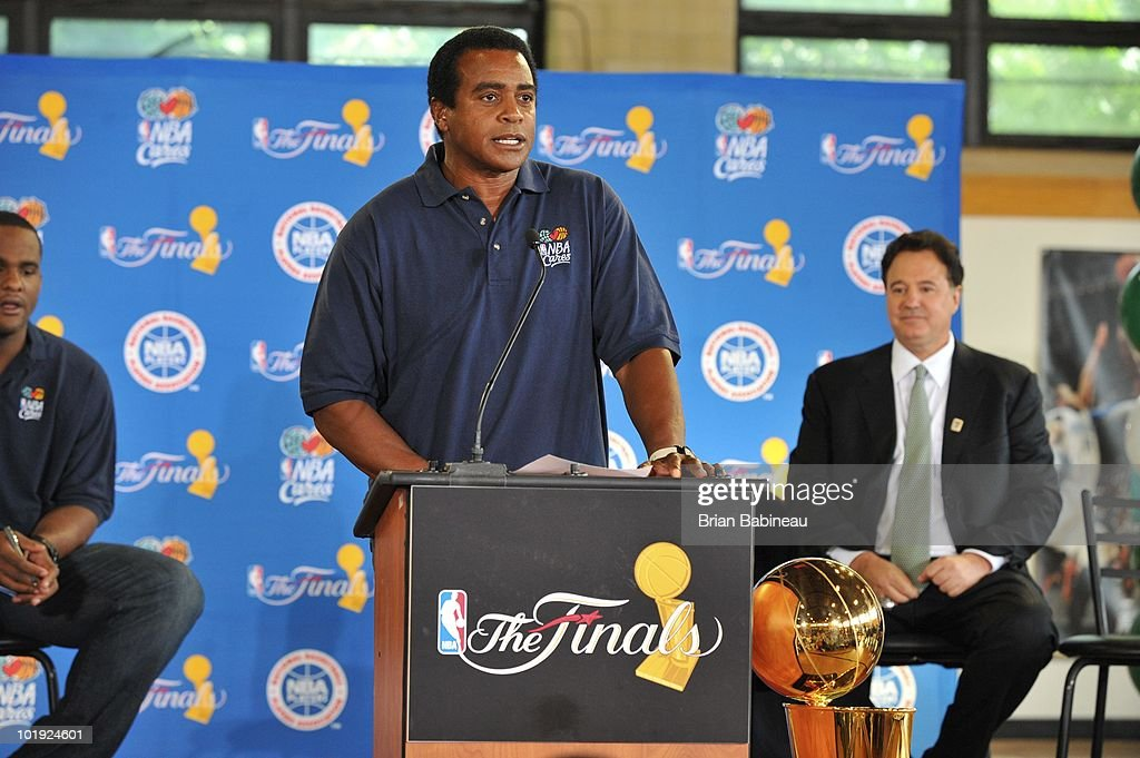 Ahmad Rashad, Host of NBA TV's 'All-Access with Ahmad' addresses the members during the unveiling of the Learn & Play Center at the Boston Centers for Youth & Families (BCYF) Tobin Community Center on June 9, 2010 in Boston, Massachusetts.