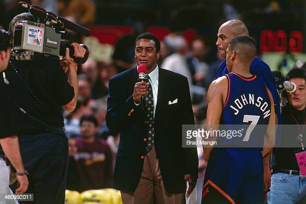 Ahmad Rashad interviews Kevin Johnson of the Phoenix Suns during a game played circa 1995 at the Oakland Coliseum in Oakland California NOTE TO USER...