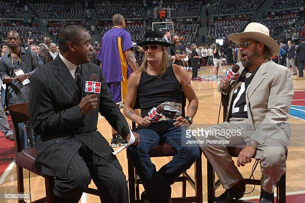 Ahmad Rashad interviews Kid Rock and Hank Williams Jr for Live at the Finals with Ahmad Rashad prior to Game five of the 2004 NBA Finals between the...
