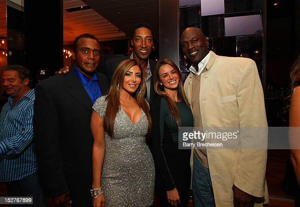 Ahmad Rashad Larsa Pippen Scottie Pippen Yvette Prieto and Michael Jordan attend the surprise birthday celebration for Scottie Pippen at Sunda on...