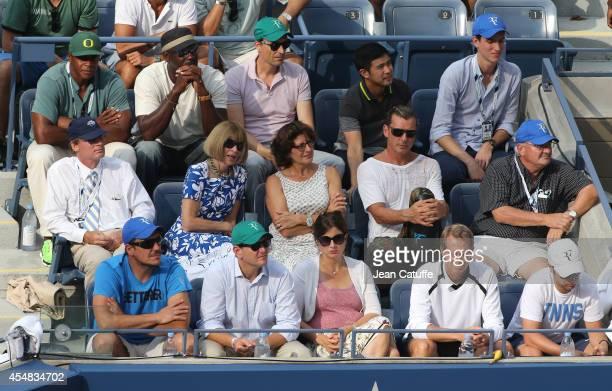 Ahmad Rashad Michael Jordan below Shelby Bryan Anna Wintour Lynnette Federer Gavin Rossdale below Tony Godsick Mirka Federer Stefan Edberg attend the...