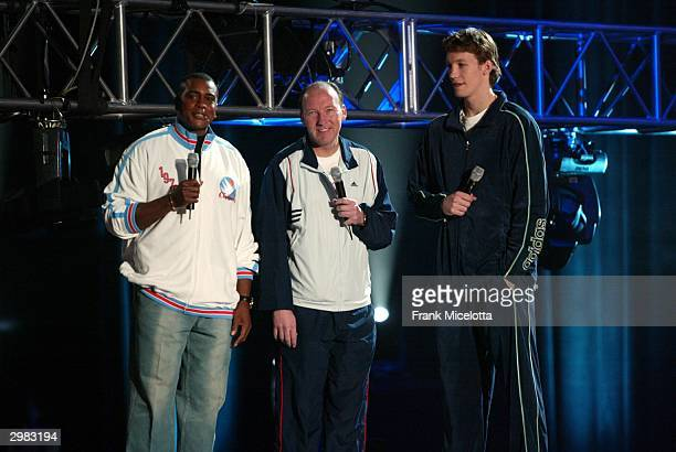 Ahmad Rashad of Inside Stuff talks to the father and son duo Mike Dunleavy Sr and Jr during the 2004 Read to Achieve at the Los Angeles Convention...