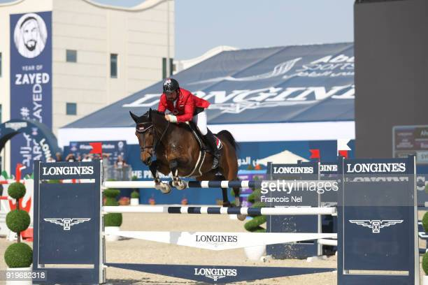 Ahmad Saber Hamcho of Syria rides Cartagena during The President of the UAE Show Jumping Cup at Al Forsan on February 17 2018 in Abu Dhabi United...