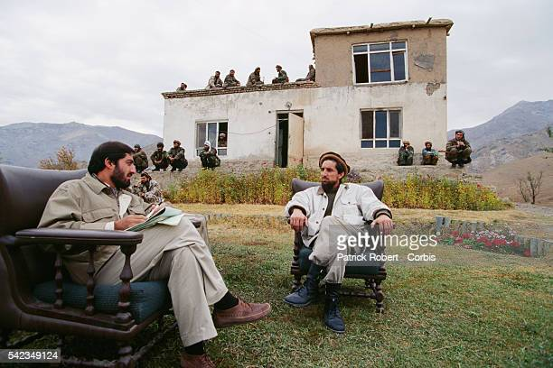 Ahmad Shah Massoud and friend and advisor Doctor Abdullah Abdullah at their military headquarters in Charikar Massoud's mujahideen forces are...