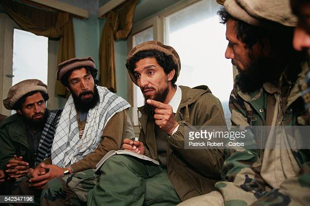 Ahmad Shah Massoud directs military operations at his military headquarters in Charikar Massoud's mujahideen forces are fighting the Taliban to the...