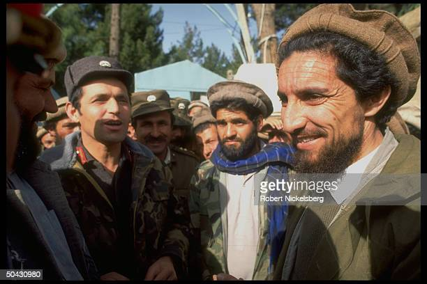 Ahmad Shah Massoud ldr of JamiatiIslami mujahedin rebel forces w defecting army Gen Abdul Momen