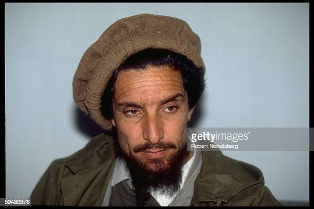 Ahmad Shah Massoud ldr of JamiatiIslami mujahedin top rebel mil cmdr in civil war against abouttobe defeated Kabul govt