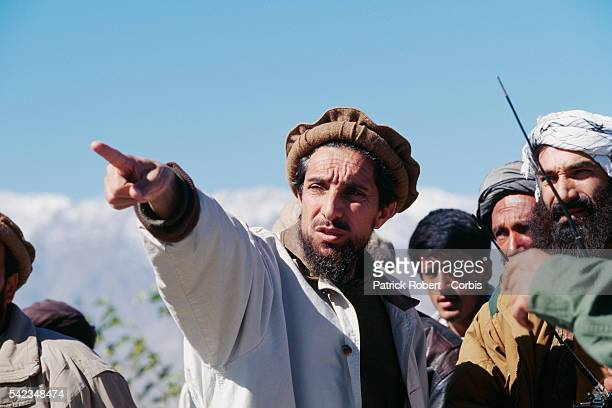 Ahmad Shah Massoud on the battle front to the north of Kabul The city was seized by the Taliban on October 27 1996 | Location North of Kabul...