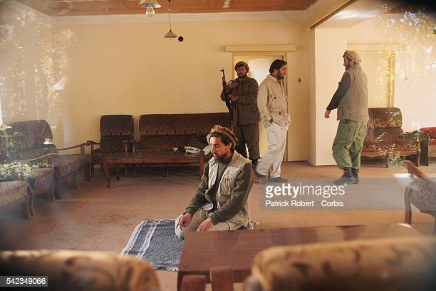Ahmad Shah Massoud praying near the frontline to the north of Kabul The city was seized by the Taliban on October 27 1996 | Location North of Kabul...