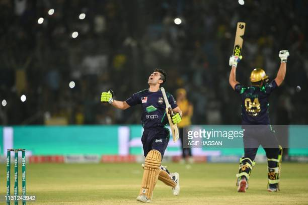 Ahmad Shahzad of Quetta Gladiators celebrates the victory in the final of Twenty20 Pakistan Super League at the National Cricket Stadium in Karachi...