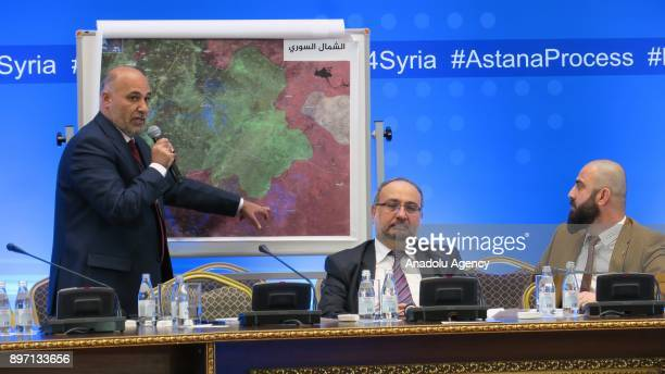 Ahmad Tu'mah delegation head of opposition military attends a press conference held after the eighth round of Syria peace talks in Astana Kazakhstan...