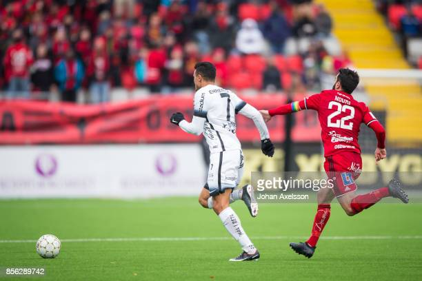 Ahmad Yasin of BK Hacken and Brwa Nouri of Ostersunds FK competes for the ball during the Allsvenskan match between Ostersunds FK and BK Hacken at...